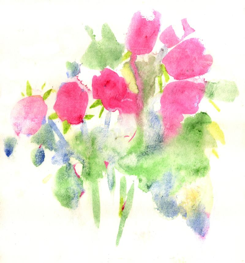 Painting rose flowers stock image