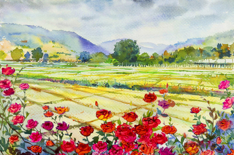 Painting roses cornfield and mountain of emotion in sky cloud background stock illustration