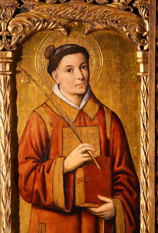 Altarpiece of St Nicolas in Monaco Cathedral - Saint Stephen stock photo