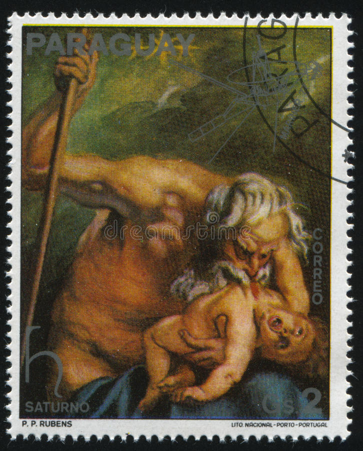 Painting Saturn by Rubens. RUSSIA KALININGRAD, 15 APRIL 2017: stamp printed by Paraguay, shows Painting Saturn by Rubens, circa 1976 stock image