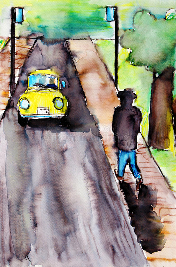 Download Painting Of A Scene Along The Street Royalty Free Stock Photos - Image: 27860468