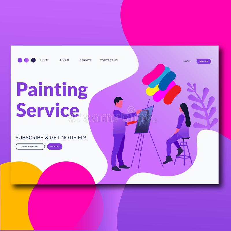 Painting Service- Flat style vector illustration landing page for website.  royalty free illustration