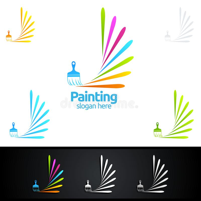 Download Painting Business Logo With Colorful Circle Represented Stock Vector