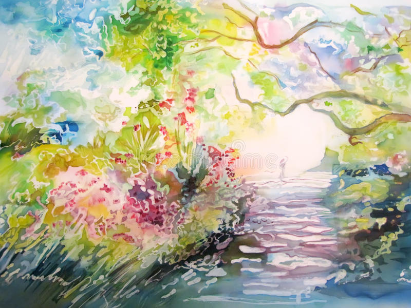 Painting on silk. Dreamy forest with trail and person. BEautiful soft colors vector illustration