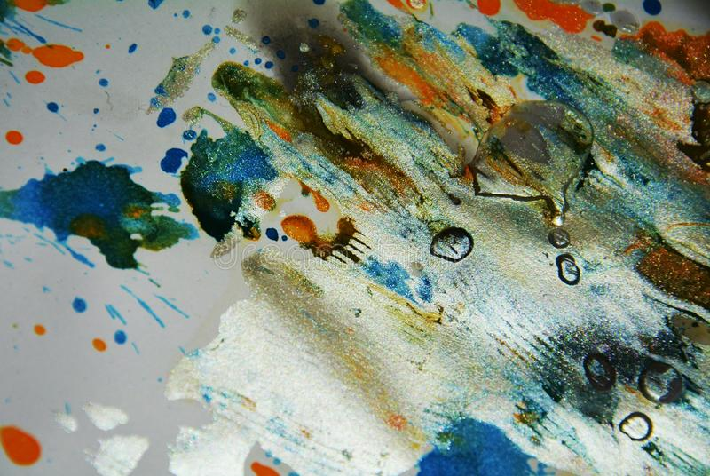 Painting silver watercolor orange blue wax vivid spots, abstract creative background stock photography