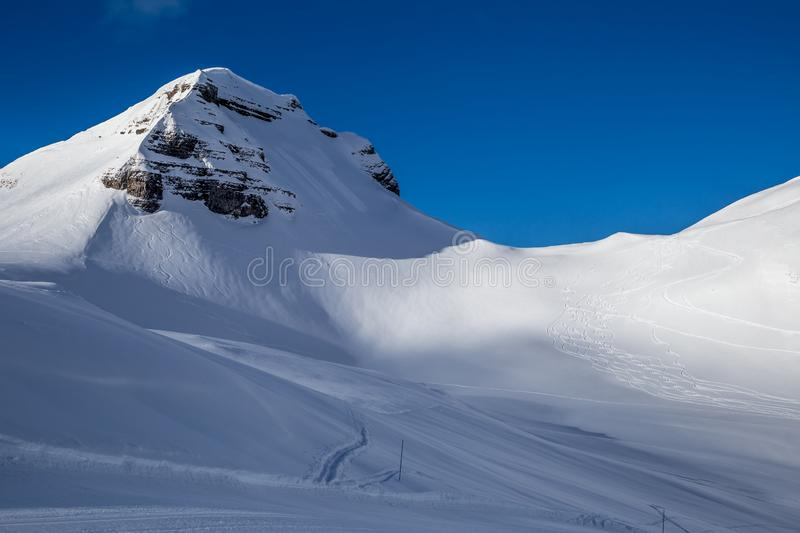Painting skiers in powder snow. Free ski terrain, Alps in Flaine area, Grand Massif, France stock photos