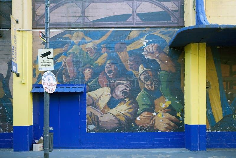 The stadium La Bombonera in La Boca, Buenos Aires, Argentina. Painting on the the stadium La Bombonera in La Boca in Buenos Aires, Argentina. The stadium is stock photography