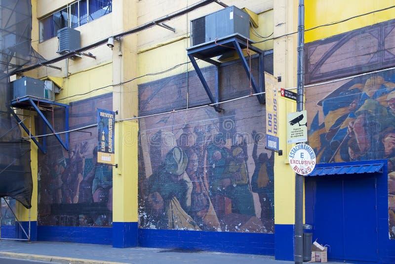 The stadium La Bombonera in La Boca, Buenos Aires, Argentina. Painting on the the stadium La Bombonera in La Boca in Buenos Aires, Argentina. The stadium is stock image