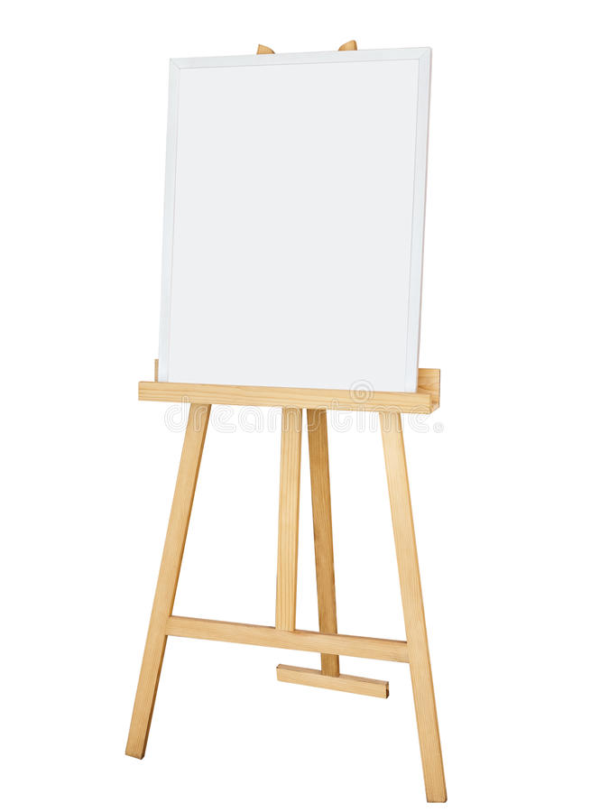 Painting stand wooden easel with blank canvas poster sign board. Isolated royalty free stock photo