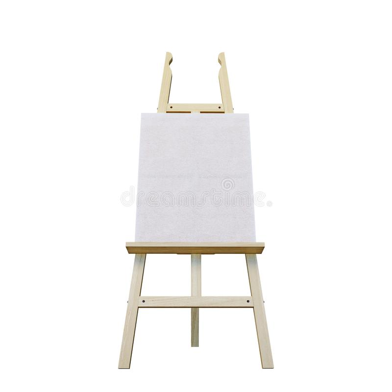 Painting stand wooden easel with blank canvas poster sign board isolated on white background. 3d rendering royalty free stock photography