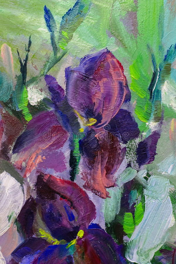 Painting still life oil painting texture, irises impressionism a royalty free illustration