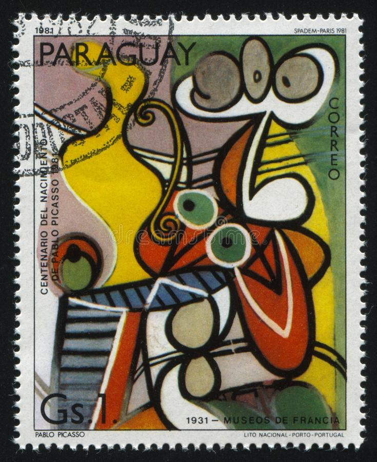 Painting Stillife by Pablo Picasso. RUSSIA KALININGRAD, 19 APRIL 2017: stamp printed by Paraguay, shows painting Stillife by Pablo Picasso, circa 1981 royalty free stock photography