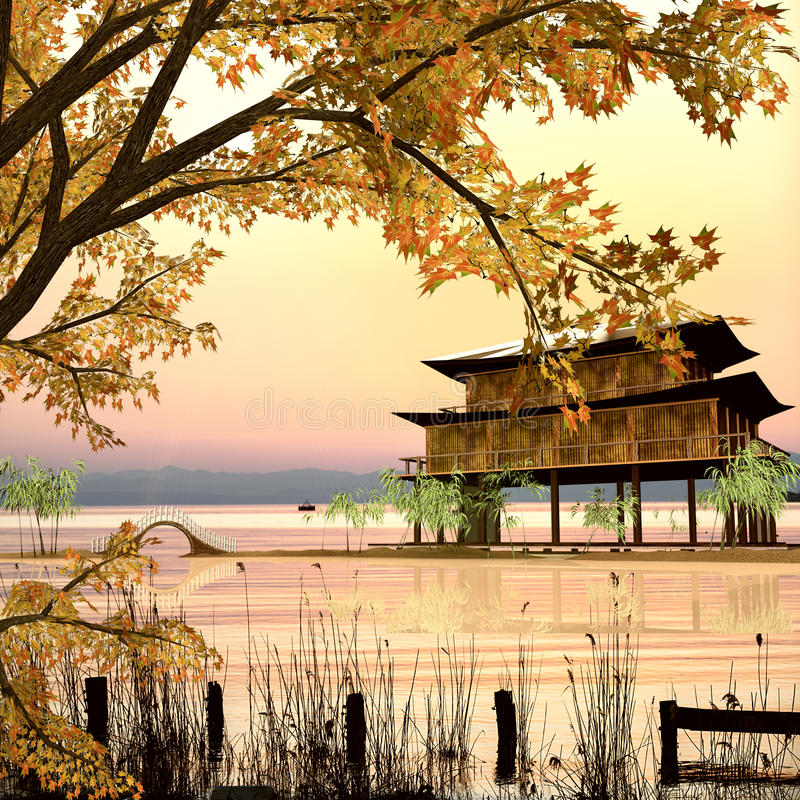 Painting style of chinese landscape stock photos