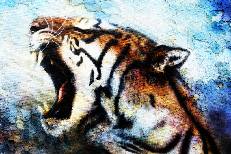 Painting Sumatran Tiger Roaring, crackle structure. Painting Sumatran Tiger Roaring, crackle structure royalty free illustration