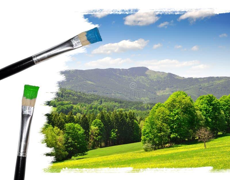 Painting summer landscape stock image