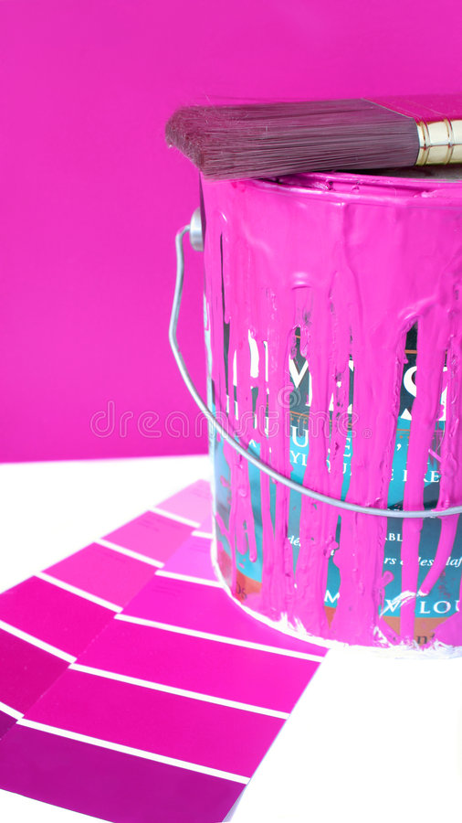 Painting supplies. Paint swatches, and paintbrush and pink paint can for home decorating royalty free stock images
