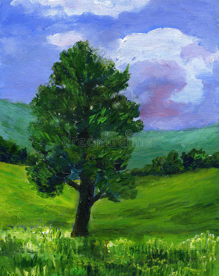 Painting of a Sycamore tree in a Summer landscape vector illustration