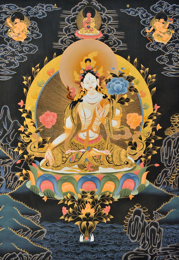Painting of Tibet traditional religion royalty free stock images