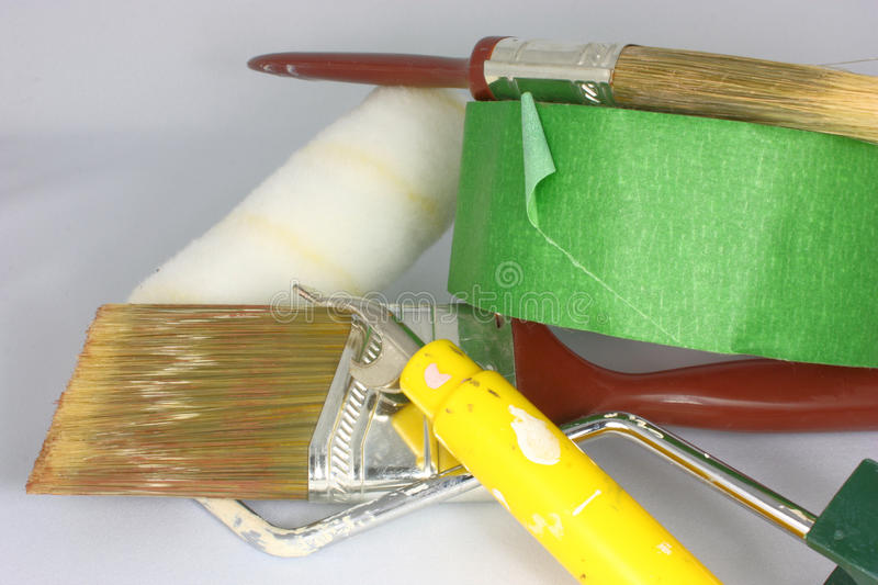 Painting Tools. Painting supplies and tools ready for the next job royalty free stock photo