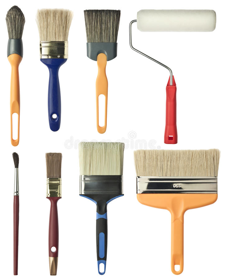 Painting tools. Brushes and roller stock photos