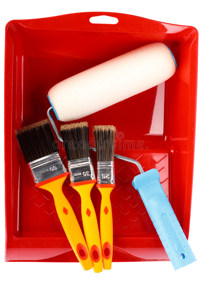 Painting tools. Various painting tools on a white background stock photography