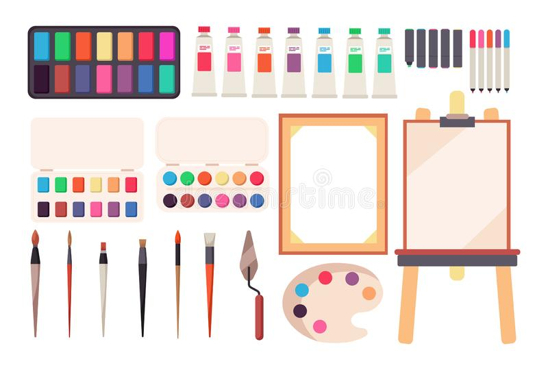 Painting tools. Cartoon paintbrush and canvas, easel and paints. Watercolor palette. Artistic vector set stock illustration