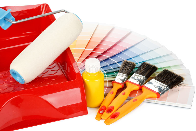 Painting tools and color guide royalty free stock image
