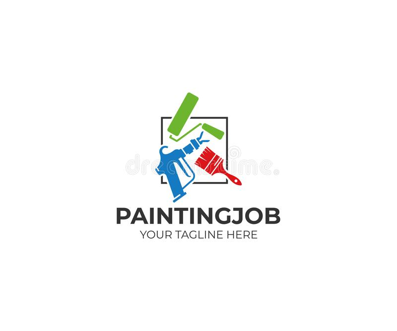 Painting tools logo template. Roller brush and airless spray gun vector design. House painting service illustration stock illustration