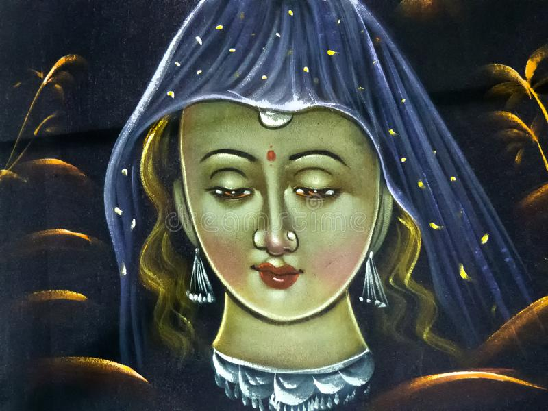 Painting of a Traditional Indian Women stock image