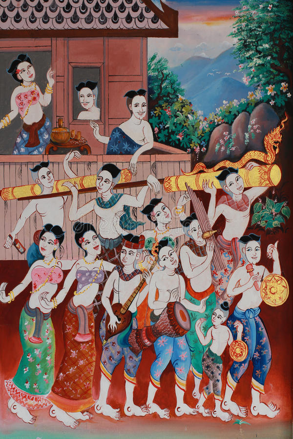 Painting of traditional rocket festival symbol of Thai culture hobbies, Thai style painting on temple wall. Painting of traditional Rocket Festival. Rocket stock image