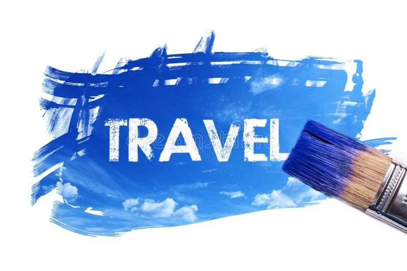 Painting travel word vector illustration