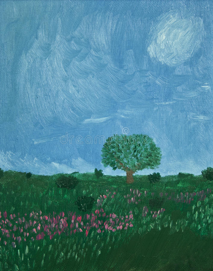 Download Painting Of Tree In Country Stock Illustration - Image: 19439873