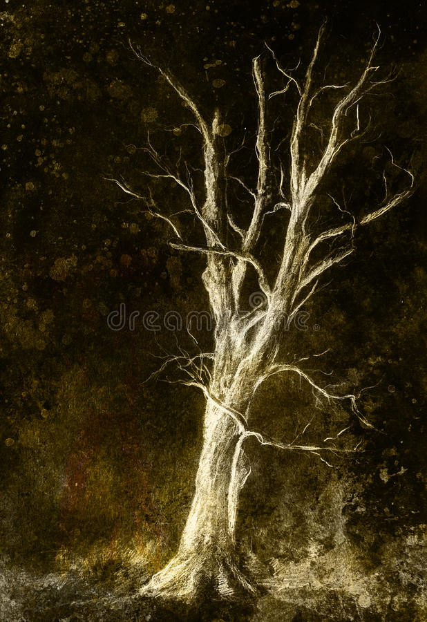 Painting tree in night landscape and abstract grunge background with spots, original hand draw and computer collage. Painting tree in night landscape and stock illustration