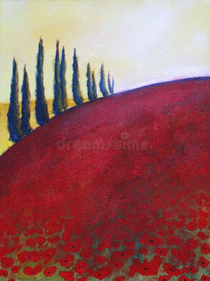 Download Painting of trees on hill stock illustration. Illustration of color - 2823926