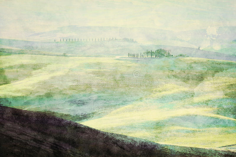 Painting of Tuscany landscape at sunrise. Tuscan green hills. royalty free illustration