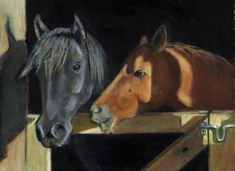 Painting Of Two Horses At Gate Royalty Free Stock Photography