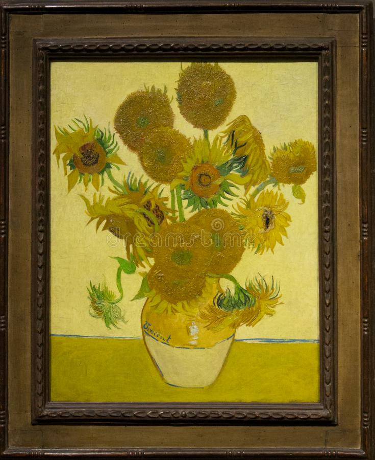 A painting by Vincent van Gogh in the National Gallery in London. A painting by Vincent van Gogh - Sunflowers. Beautiful framed painting in The National Gallery stock images