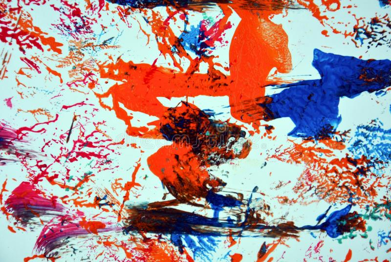 Mix red blue orange purple white green pink paint spots, vivid background, painting abtract colors stock photo