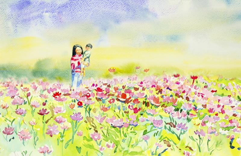 Painting watercolor of daisy flowers and Mother,son. vector illustration