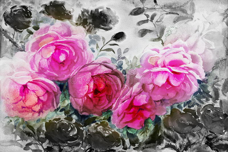Painting watercolor flowers landscape pink black color of roses. stock illustration