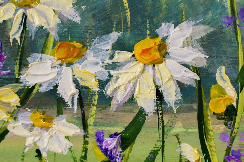 Painting of white daisies flowers, beautiful field flowers on canvas. Palette knife Impasto artwork. Oil painting of white daisies flowers, beautiful field royalty free illustration