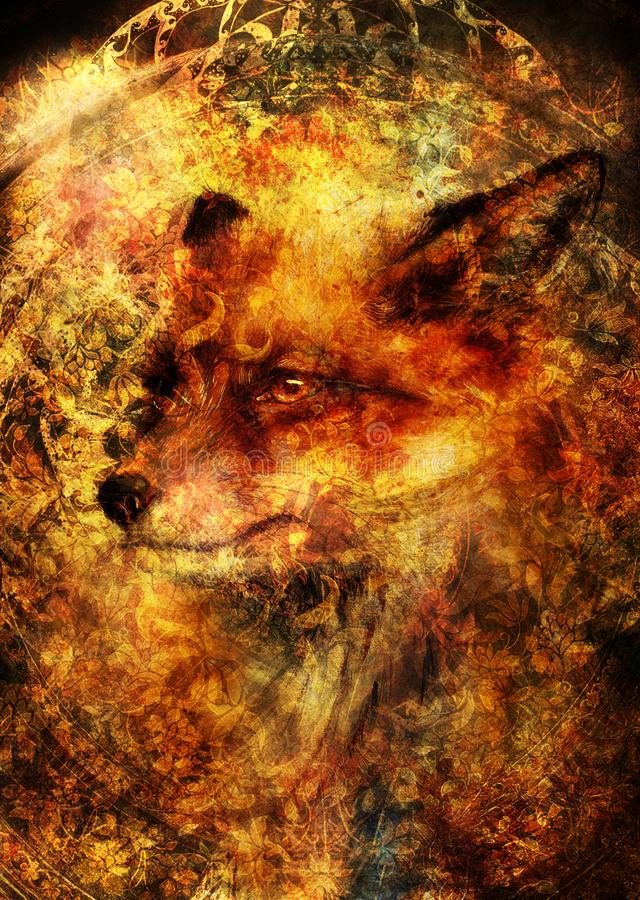 Painting of wild red fox. Ornamental background. stock photos