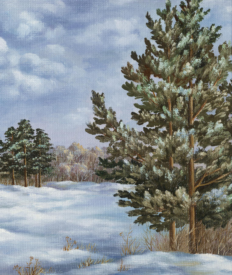 Painting, winter forest royalty free illustration