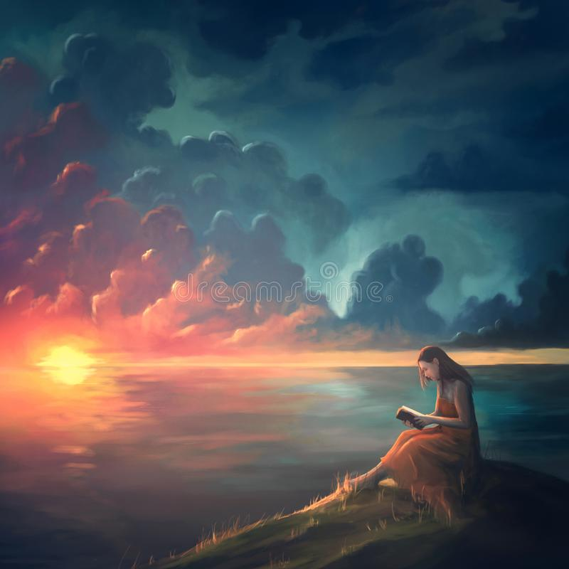 Painting of a woman at sunset stock illustration
