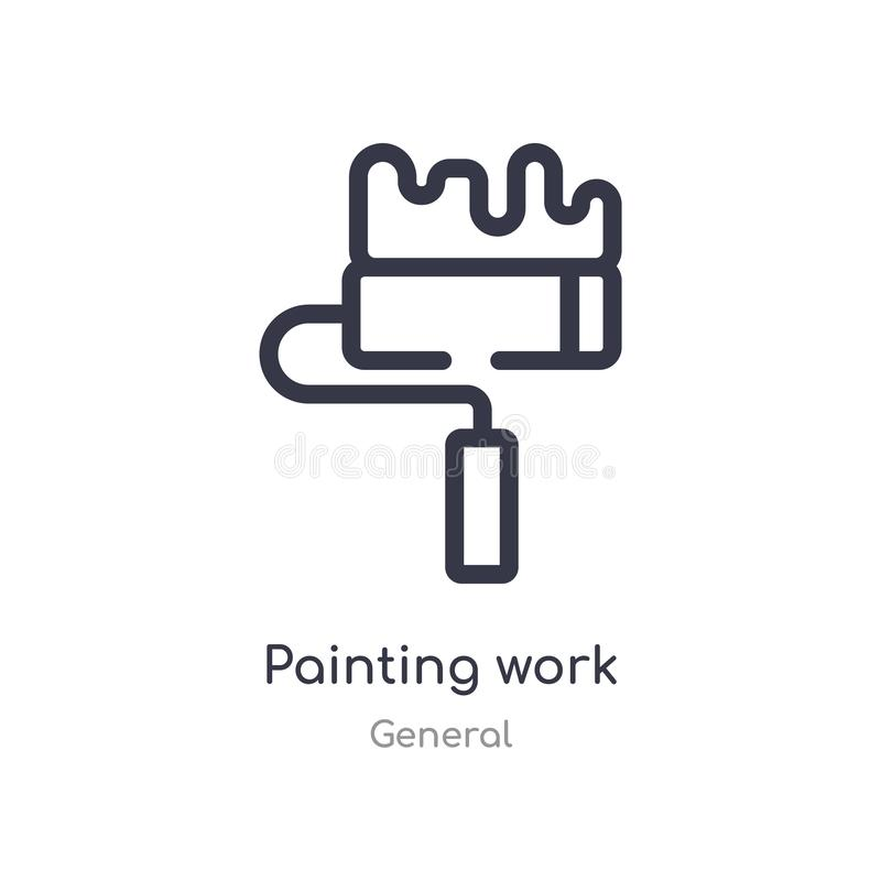 Painting work outline icon. isolated line vector illustration from general collection. editable thin stroke painting work icon on. White background royalty free illustration