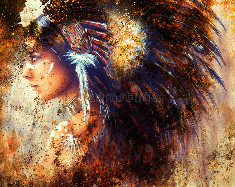 Painting of a young indian woman wearing a big feather headdress, a profile portrait on structured abstract background. vector illustration