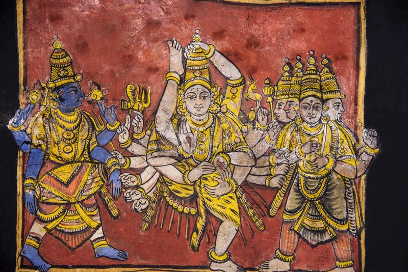 Paintings on the ceiling, Brihadishvara Temple, an UNESCO World Heritage Sites, Thanjavur, Tamil Nadu, India. Paintings on the ceiling, Brihadishvara Temple, an royalty free stock photos