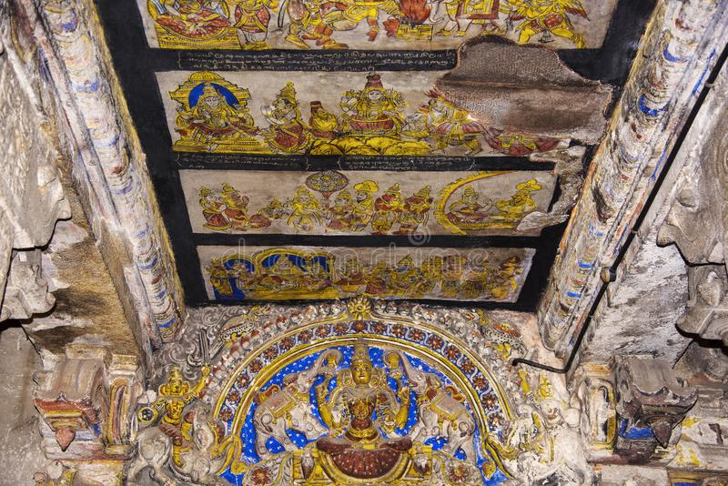 Paintings on the ceiling, Brihadishvara Temple, an UNESCO World Heritage Sites, Thanjavur, Tamil Nadu, India. Paintings on the ceiling, Brihadishvara Temple, an royalty free stock image