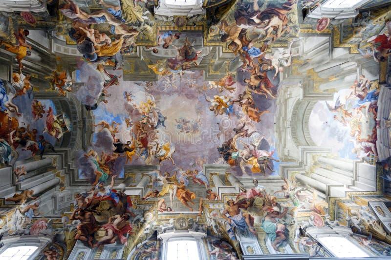 Ceiling of Catholic Church St. Ignatius of Loyola, in Rome, Italy royalty free stock image