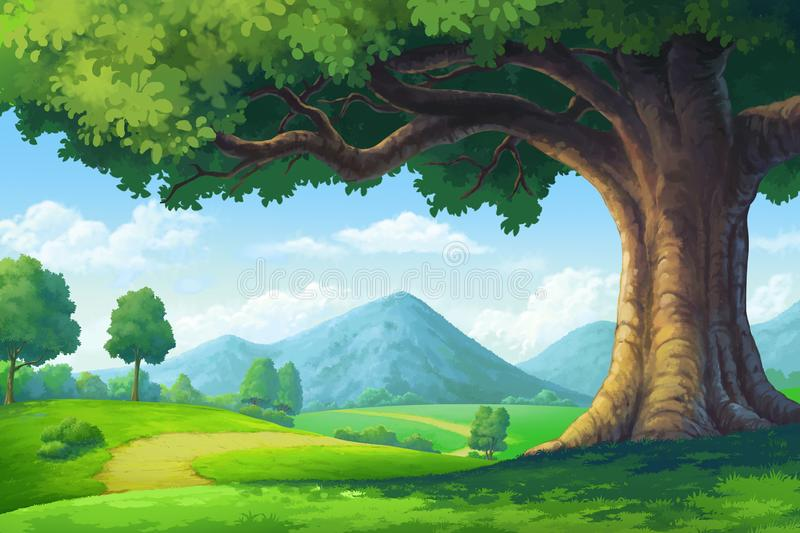 Paintings for the hill Trees and paths vector illustration